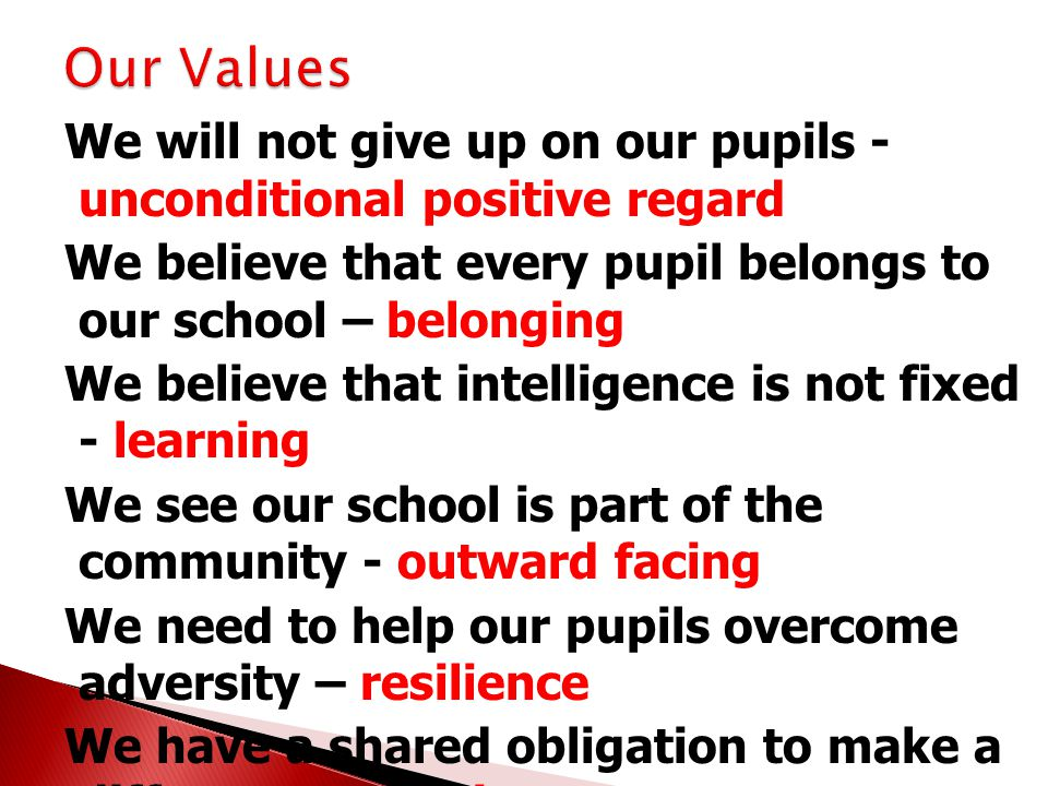 We will not give up on our pupils - unconditional positive regard We believe that every pupil belongs to our school – belonging We believe that intelligence is not fixed - learning We see our school is part of the community - outward facing We need to help our pupils overcome adversity – resilience We have a shared obligation to make a difference - service We can t do it by ourselves - partnerships We accept change and challenge ourselves to keep improving - innovate