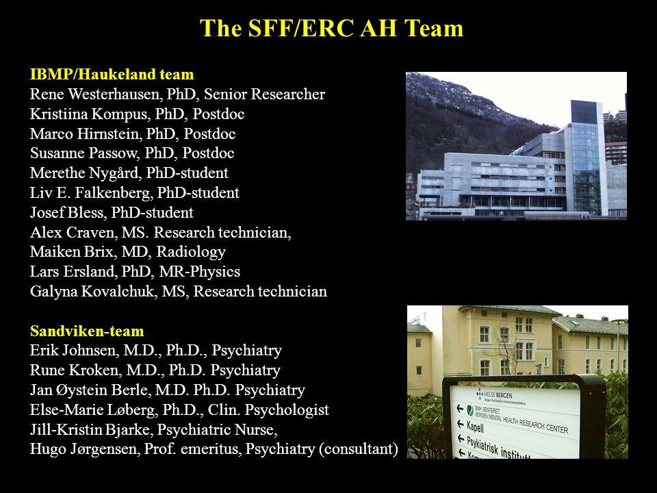 The SFF/ERC AH Team IBMP/Haukeland team Rene Westerhausen, PhD, Senior Researcher Kristiina Kompus, PhD, Postdoc Marco Hirnstein, PhD, Postdoc Susanne Passow, PhD, Postdoc Merethe Nygård, PhD-student Liv E.
