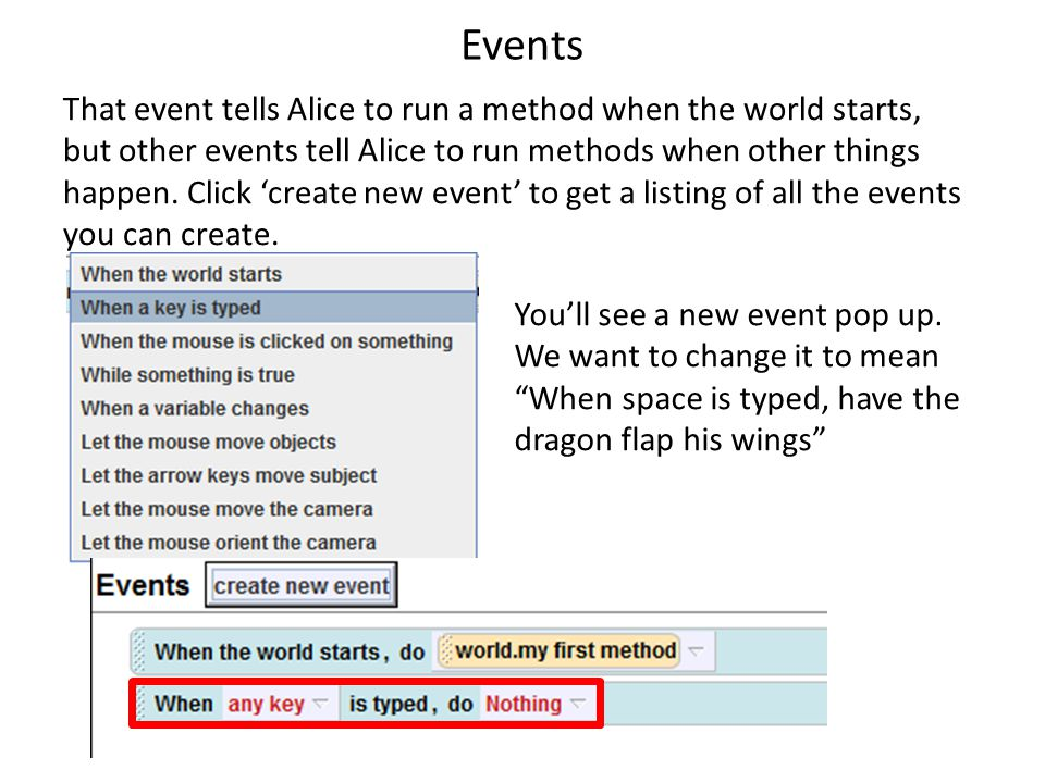 Events That event tells Alice to run a method when the world starts, but other events tell Alice to run methods when other things happen.