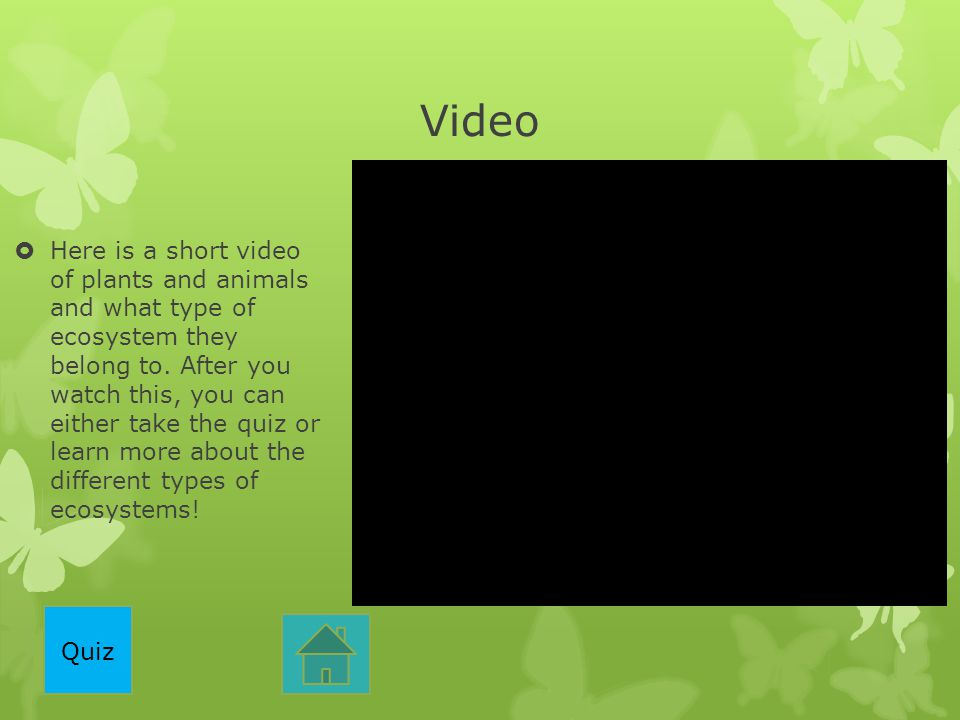 Video  Here is a short video of plants and animals and what type of ecosystem they belong to. After you watch this, you can either take the quiz or l