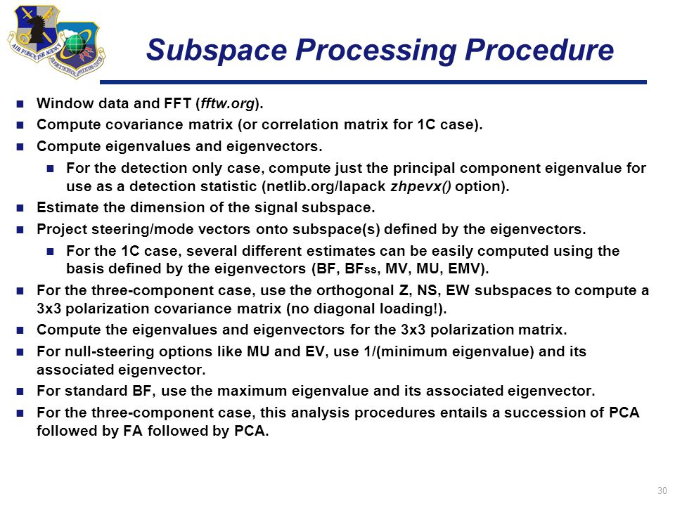 30 Subspace Processing Procedure Window data and FFT (fftw.org).