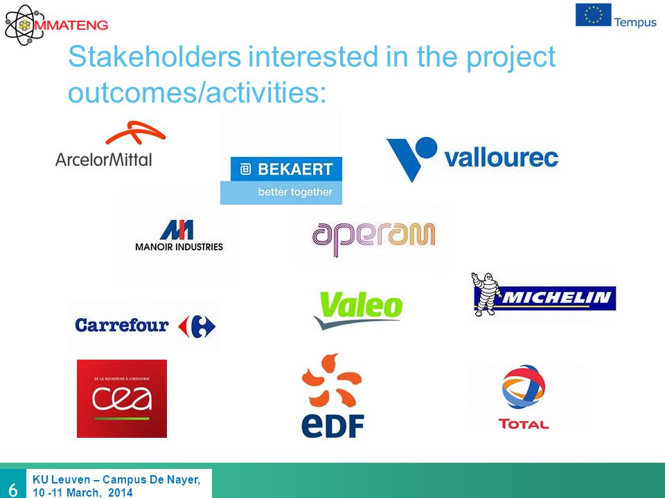 6 KU Leuven – Campus De Nayer, 10 -11 March, 2014 Stakeholders interested in the project outcomes/activities: