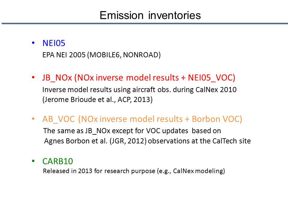 Emission inventories NEI05 EPA NEI 2005 (MOBILE6, NONROAD) JB_NOx (NOx inverse model results + NEI05_VOC) Inverse model results using aircraft obs.