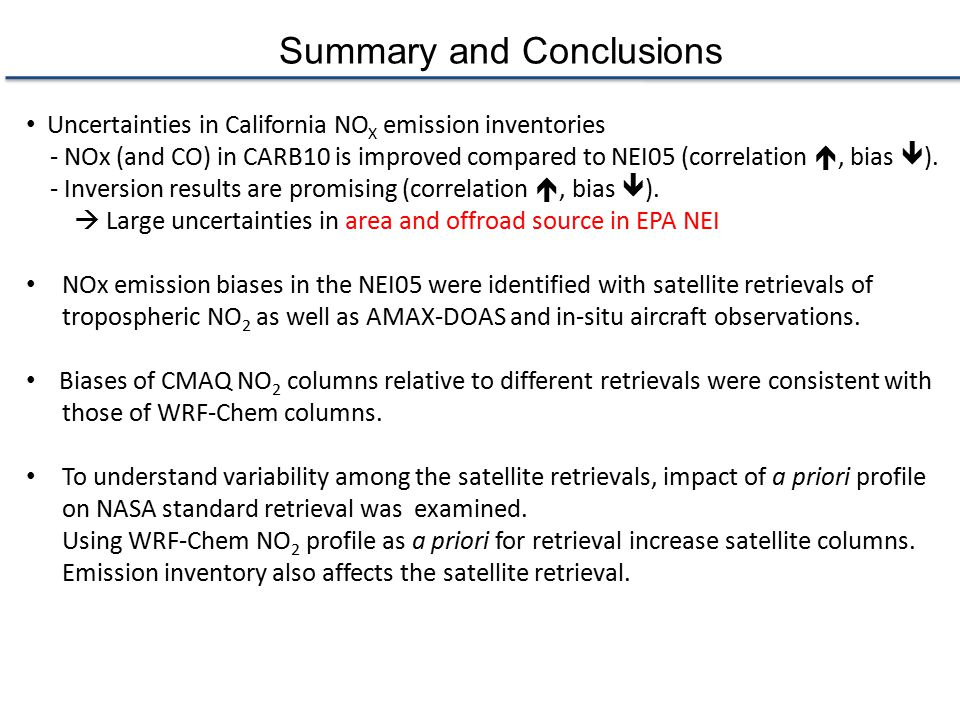 Summary and Conclusions Uncertainties in California NO X emission inventories - NOx (and CO) in CARB10 is improved compared to NEI05 (correlation , b