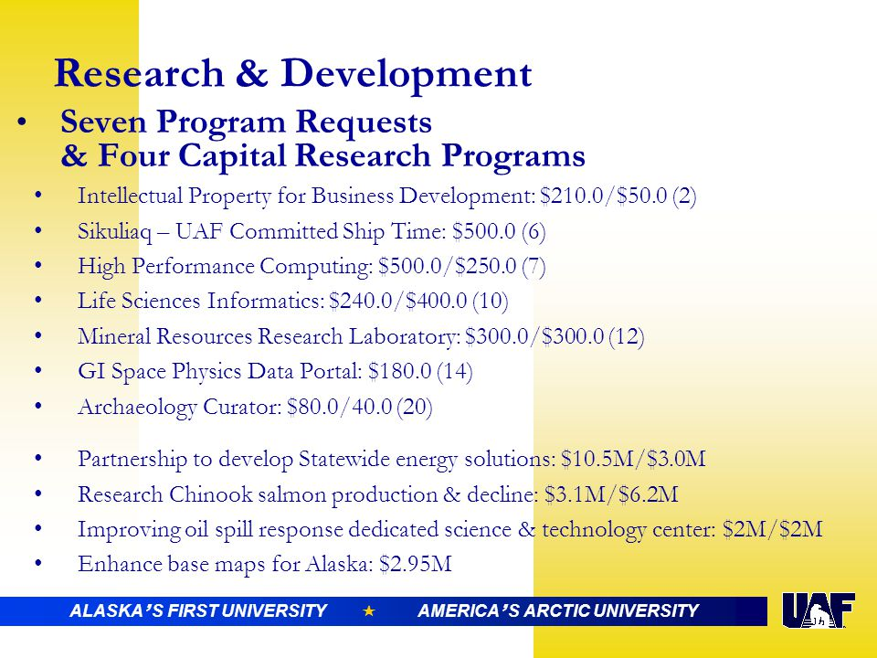 ALASKA ' S FIRST UNIVERSITY  AMERICA ' S ARCTIC UNIVERSITY Research & Development Seven Program Requests & Four Capital Research Programs Intellectual Property for Business Development: $210.0/$50.0 (2) Sikuliaq – UAF Committed Ship Time: $500.0 (6) High Performance Computing: $500.0/$250.0 (7) Life Sciences Informatics: $240.0/$400.0 (10) Mineral Resources Research Laboratory: $300.0/$300.0 (12) GI Space Physics Data Portal: $180.0 (14) Archaeology Curator: $80.0/40.0 (20) Partnership to develop Statewide energy solutions: $10.5M/$3.0M Research Chinook salmon production & decline: $3.1M/$6.2M Improving oil spill response dedicated science & technology center: $2M/$2M Enhance base maps for Alaska: $2.95M