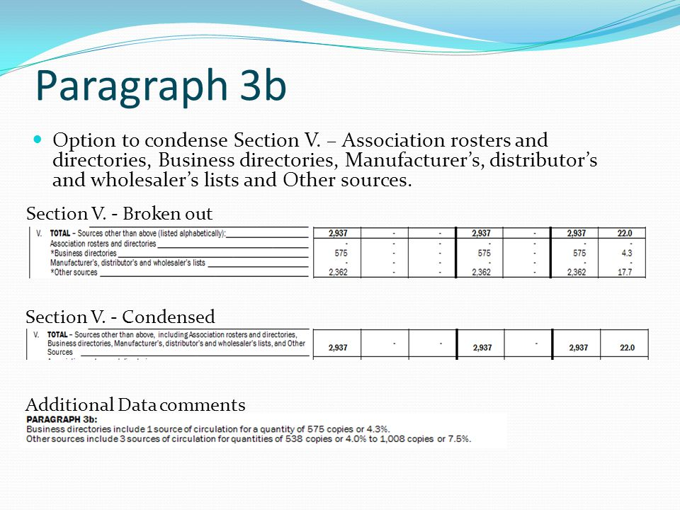 Paragraph 3b Option to condense Section V.