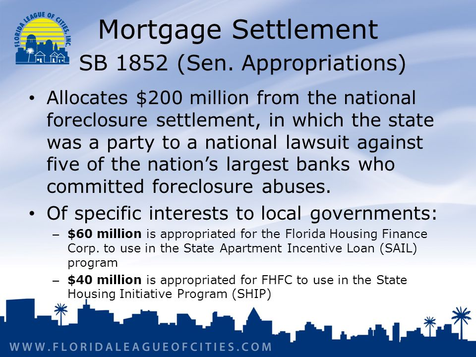 Mortgage Settlement SB 1852 (Sen.