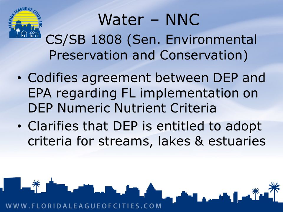 Water – NNC CS/SB 1808 (Sen.