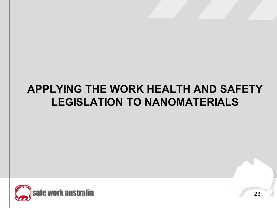 APPLYING THE WORK HEALTH AND SAFETY LEGISLATION TO NANOMATERIALS 23
