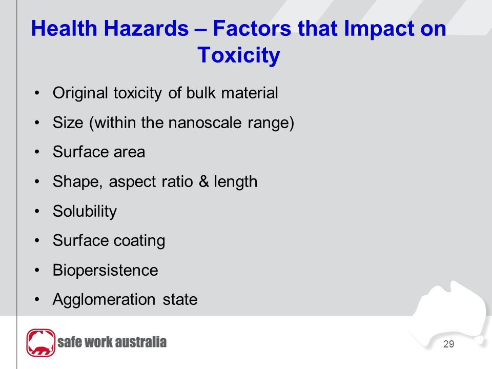 29 Health Hazards – Factors that Impact on Toxicity Original toxicity of bulk material Size (within the nanoscale range) Surface area Shape, aspect ra