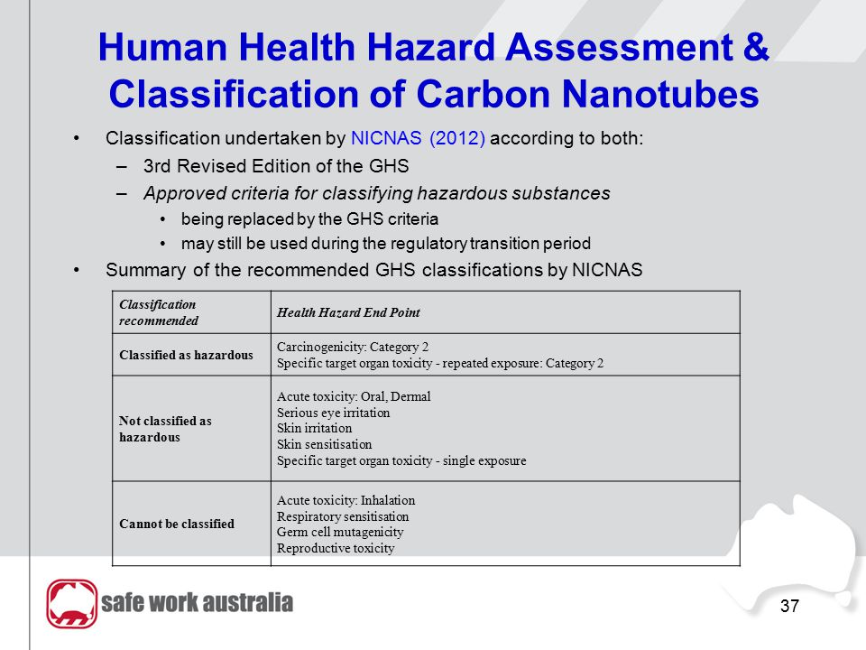 37 Human Health Hazard Assessment & Classification of Carbon Nanotubes Classification undertaken by NICNAS (2012) according to both: –3rd Revised Edit