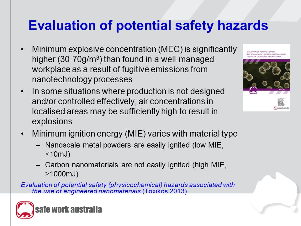 Evaluation of potential safety hazards Minimum explosive concentration (MEC) is significantly higher (30-70g/m 3 ) than found in a well-managed workpl