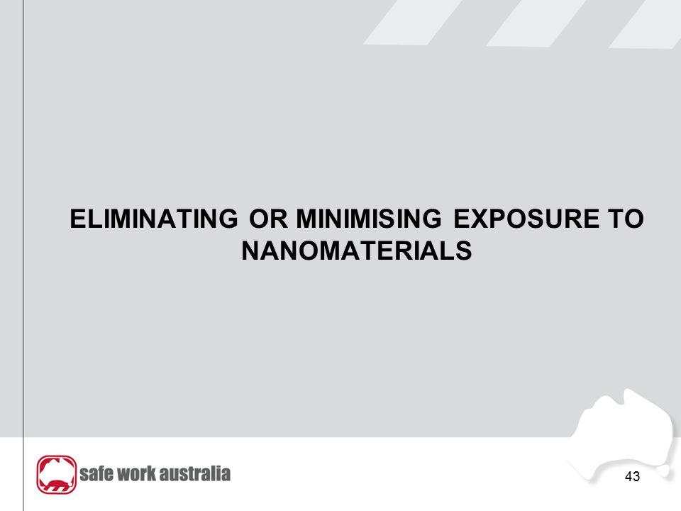 ELIMINATING OR MINIMISING EXPOSURE TO NANOMATERIALS 43