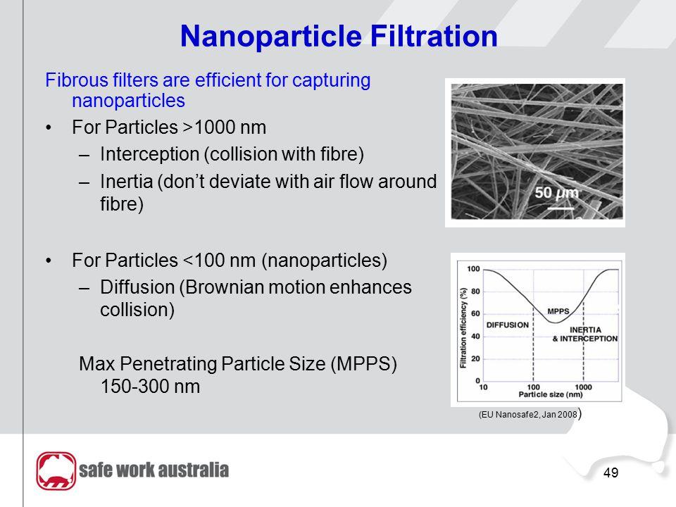 49 RMIT University©2010 NanoSafe Australia 49 Nanoparticle Filtration Fibrous filters are efficient for capturing nanoparticles For Particles >1000 nm –Interception (collision with fibre) –Inertia (don't deviate with air flow around fibre) For Particles <100 nm (nanoparticles) –Diffusion (Brownian motion enhances collision) Max Penetrating Particle Size (MPPS) 150-300 nm (EU Nanosafe2, Jan 2008 )