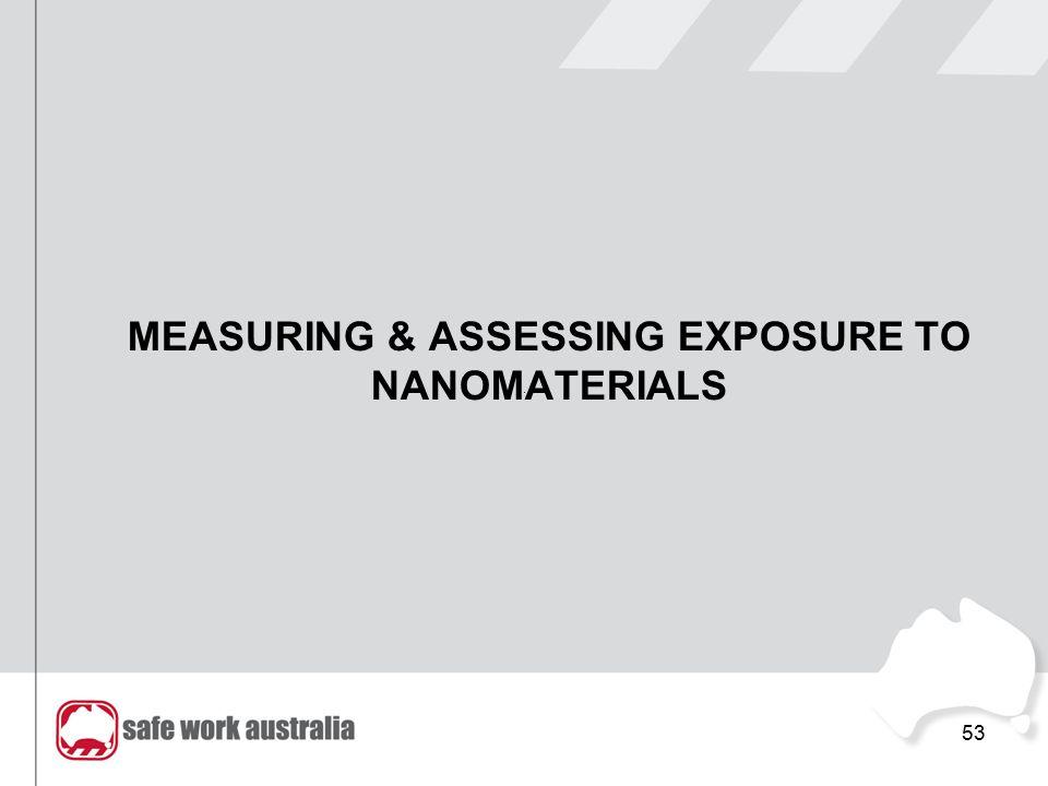 MEASURING & ASSESSING EXPOSURE TO NANOMATERIALS 53