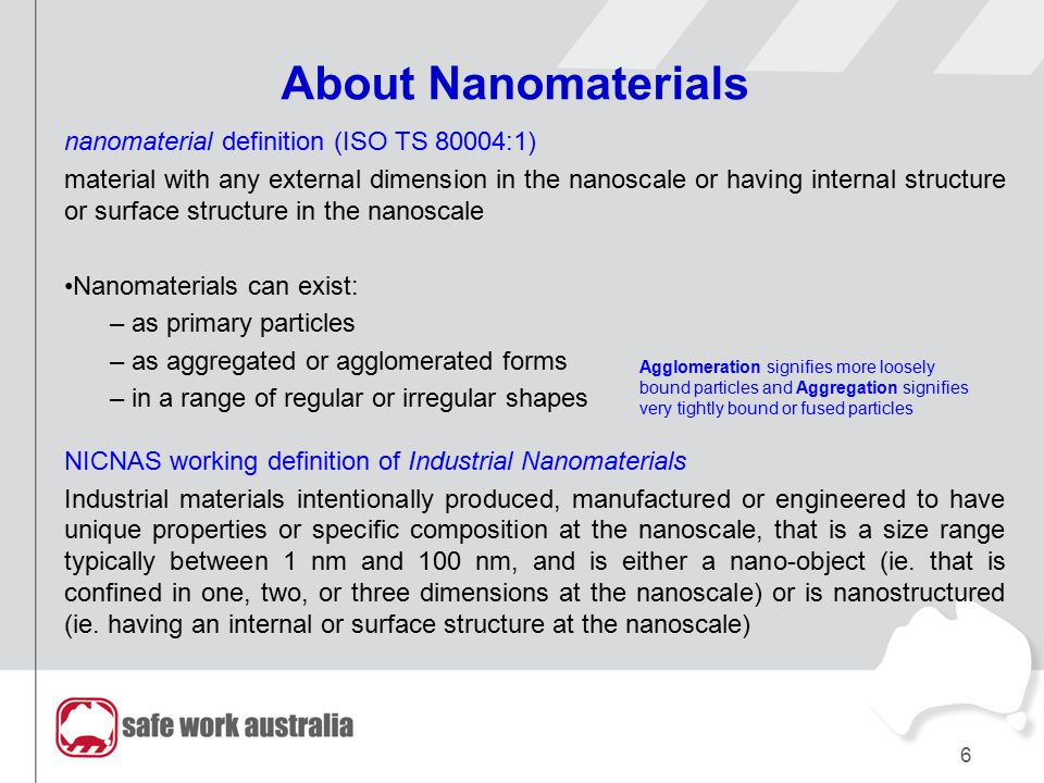 About Nanomaterials nanomaterial definition (ISO TS 80004:1) material with any external dimension in the nanoscale or having internal structure or sur