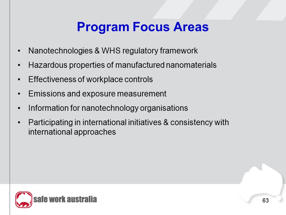 63 Program Focus Areas Nanotechnologies & WHS regulatory framework Hazardous properties of manufactured nanomaterials Effectiveness of workplace controls Emissions and exposure measurement Information for nanotechnology organisations Participating in international initiatives & consistency with international approaches