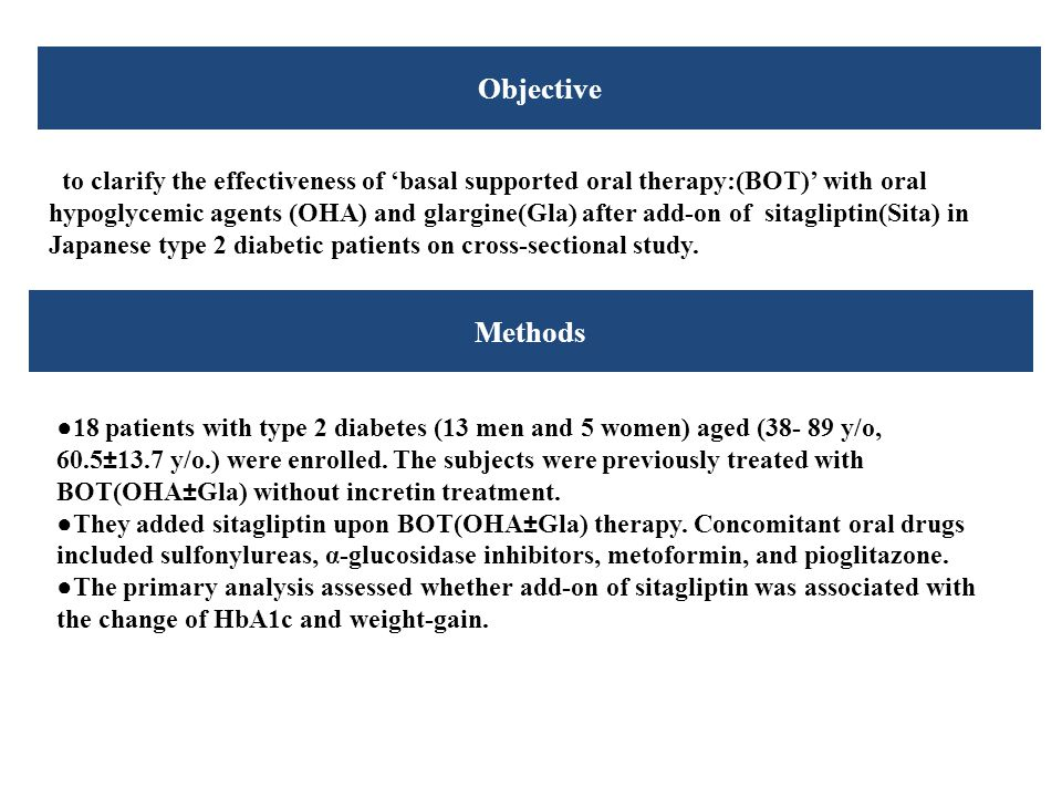 Methods Objective to clarify the effectiveness of 'basal supported oral therapy:(BOT)' with oral hypoglycemic agents (OHA) and glargine(Gla) after add