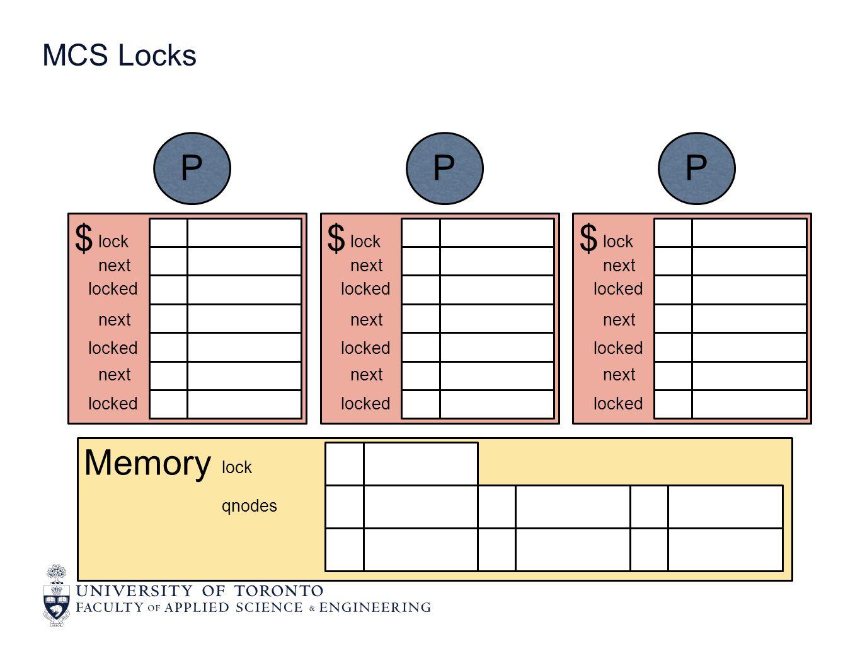 MCS Locks Memory lock qnodes $ P lock next locked next locked next locked $ P lock next locked next locked next locked $ P lock next locked next locked next locked