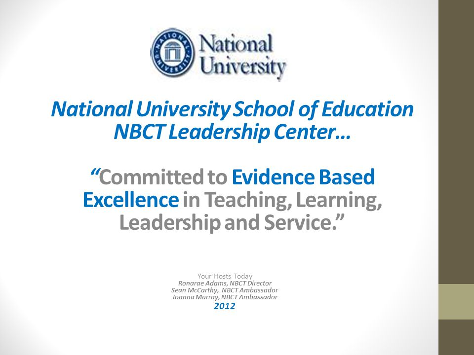 NBC Principal Certification What will constitute principal certification.