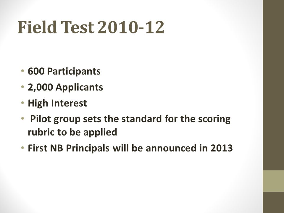 Field Test 2010-12 600 Participants 2,000 Applicants High Interest Pilot group sets the standard for the scoring rubric to be applied First NB Principals will be announced in 2013