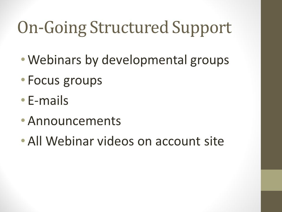 On-Going Structured Support Webinars by developmental groups Focus groups E-mails Announcements All Webinar videos on account site