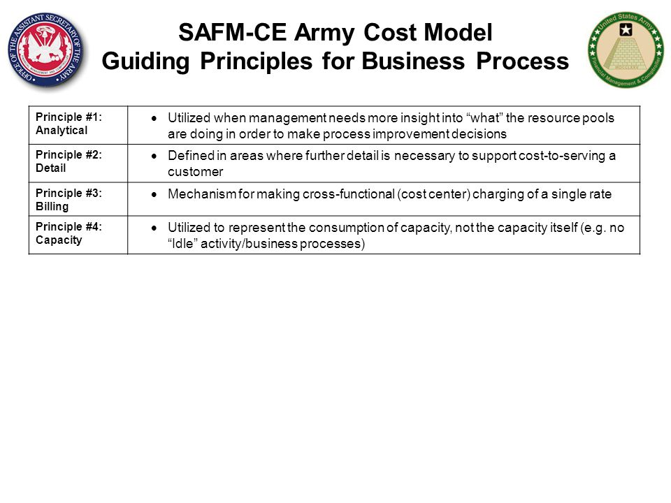 "SAFM-CE Army Cost Model Guiding Principles for Business Process Principle #1: Analytical  Utilized when management needs more insight into ""what"" the"