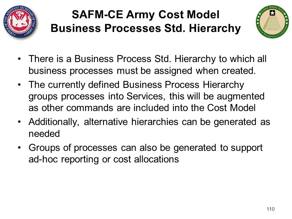 110 SAFM-CE Army Cost Model Business Processes Std. Hierarchy There is a Business Process Std. Hierarchy to which all business processes must be assig