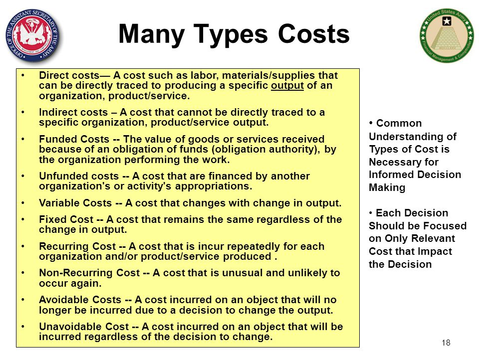 18 Many Types Costs Direct costs— A cost such as labor, materials/supplies that can be directly traced to producing a specific output of an organizati