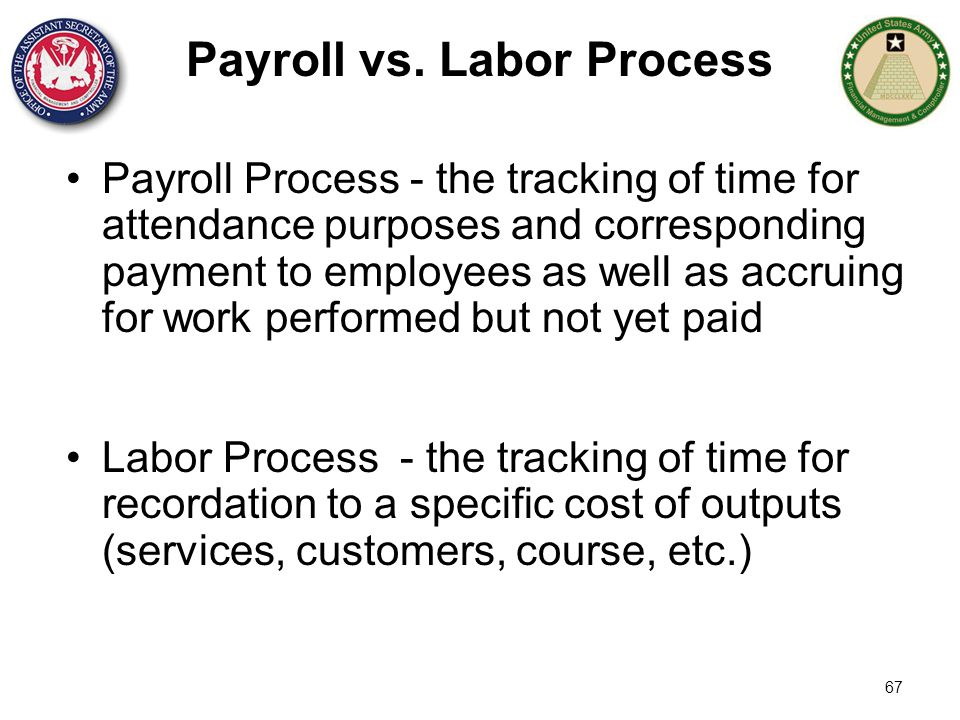 67 Payroll vs. Labor Process Payroll Process - the tracking of time for attendance purposes and corresponding payment to employees as well as accruing