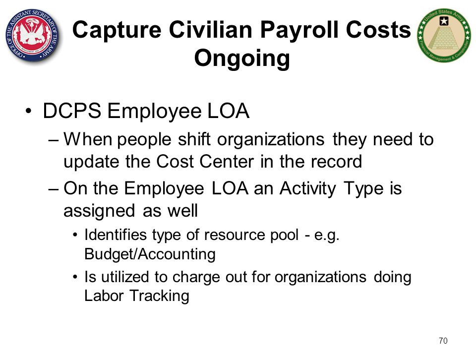 70 Capture Civilian Payroll Costs Ongoing DCPS Employee LOA –When people shift organizations they need to update the Cost Center in the record –On the