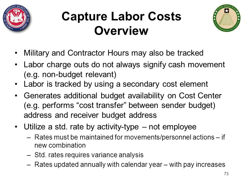 73 Capture Labor Costs Overview Military and Contractor Hours may also be tracked Labor charge outs do not always signify cash movement (e.g. non-budg