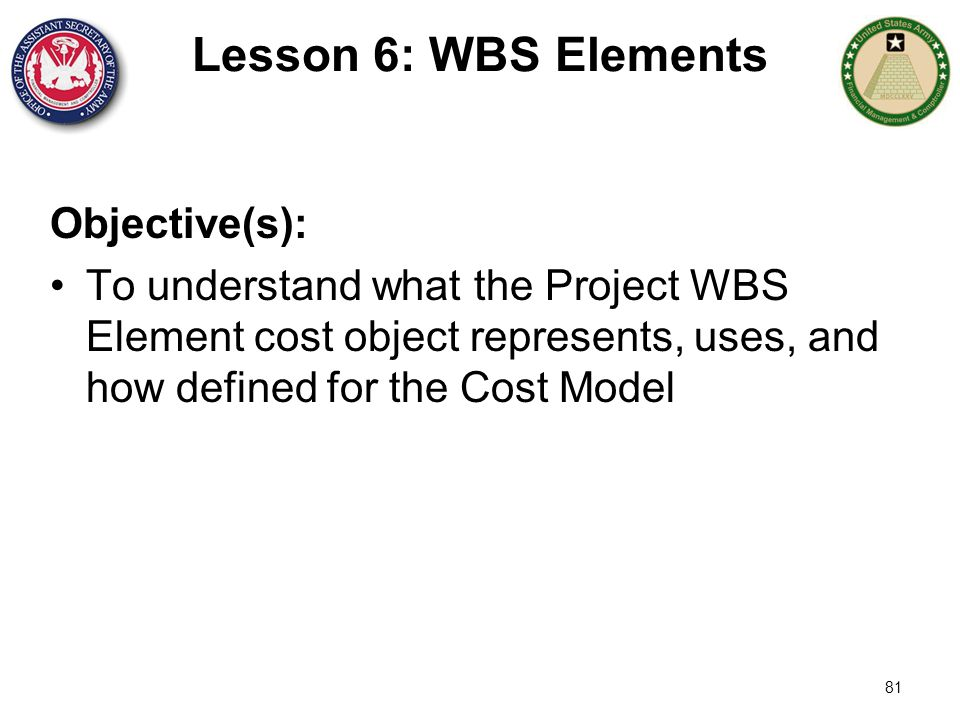 81 Lesson 6: WBS Elements Objective(s): To understand what the Project WBS Element cost object represents, uses, and how defined for the Cost Model