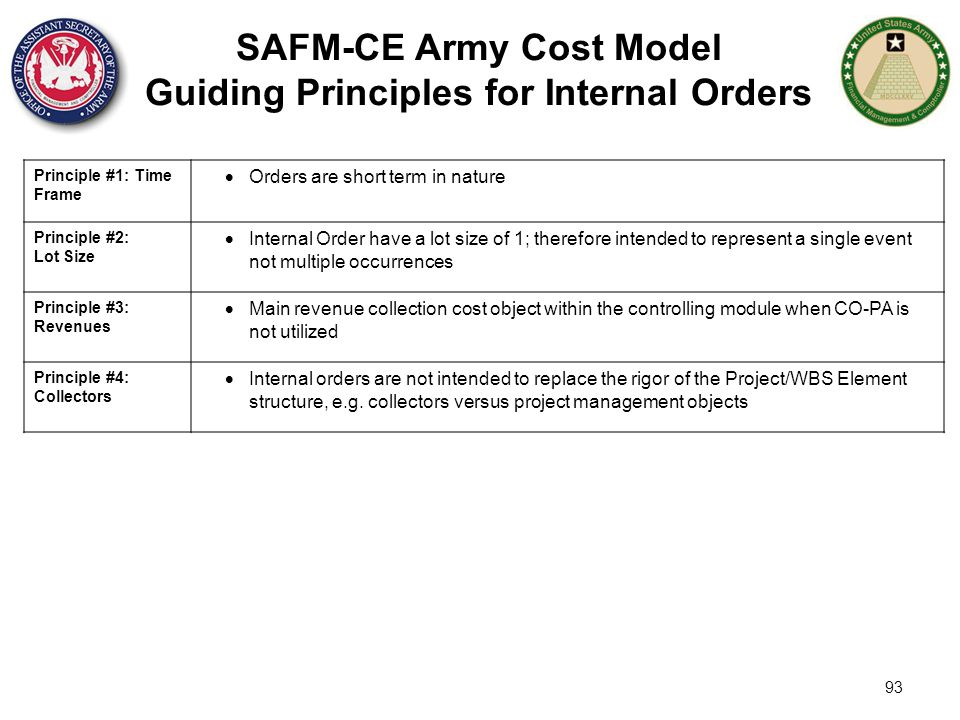 93 SAFM-CE Army Cost Model Guiding Principles for Internal Orders Principle #1: Time Frame  Orders are short term in nature Principle #2: Lot Size 
