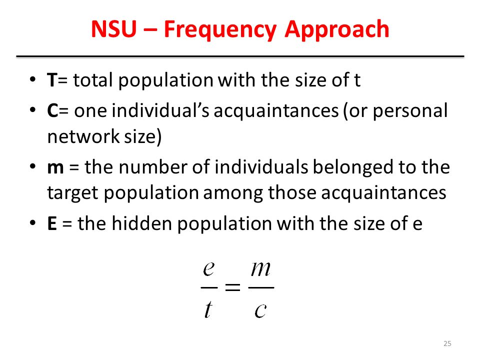 NSU – Frequency Approach T= total population with the size of t C= one individual's acquaintances (or personal network size) m = the number of individ