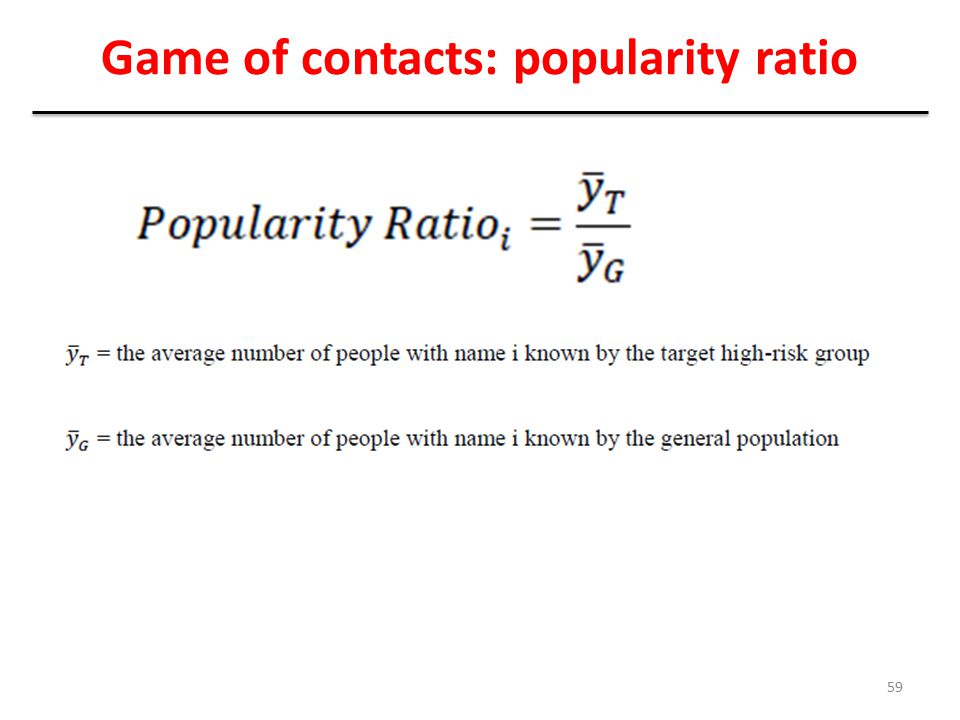 Game of contacts: popularity ratio 59