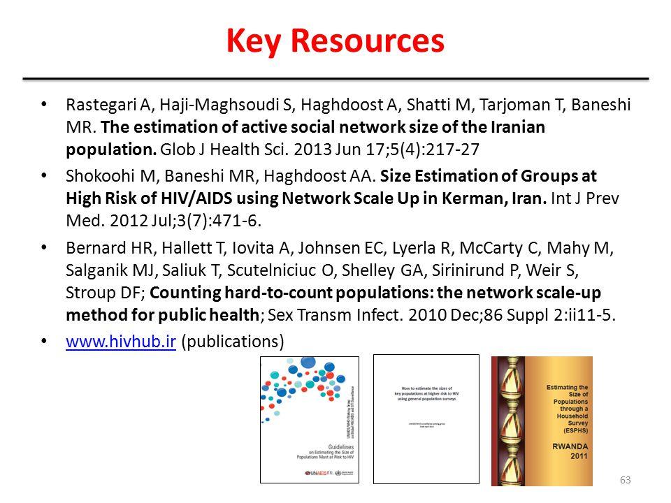 Key Resources Rastegari A, Haji-Maghsoudi S, Haghdoost A, Shatti M, Tarjoman T, Baneshi MR. The estimation of active social network size of the Irania
