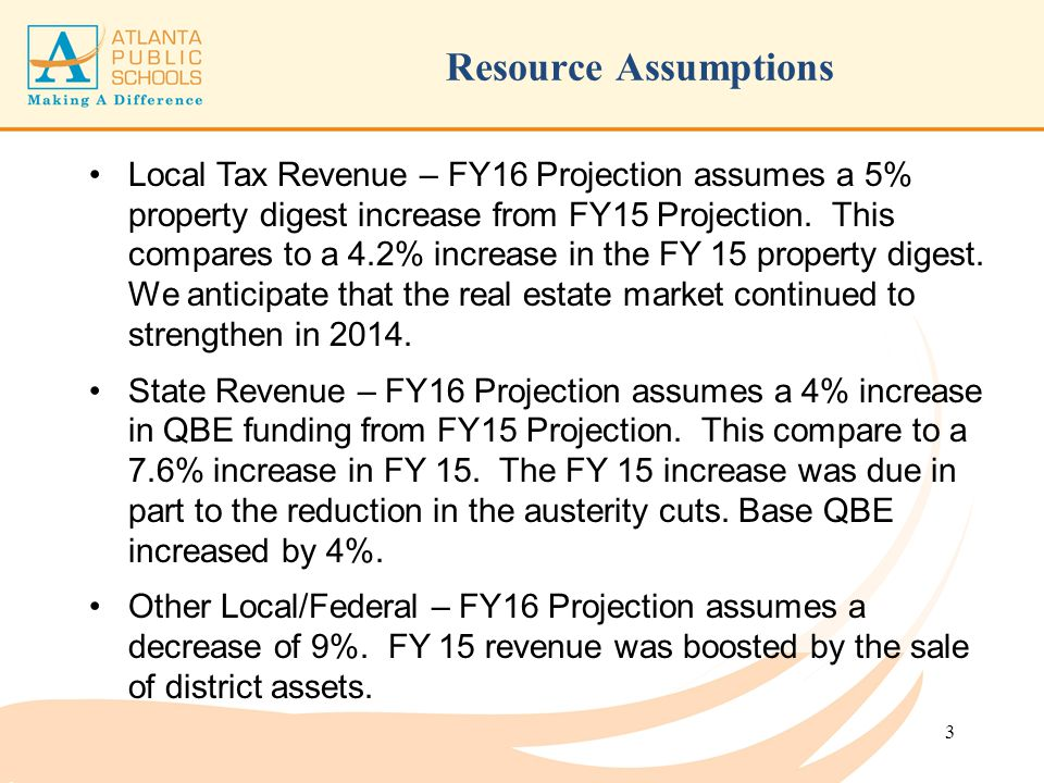 Resource Assumptions 3 Local Tax Revenue – FY16 Projection assumes a 5% property digest increase from FY15 Projection. This compares to a 4.2% increas