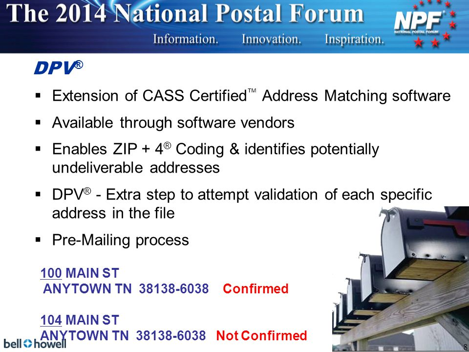 USPS ® Co-Presentations Schedule Monday NCOA Link® vs.
