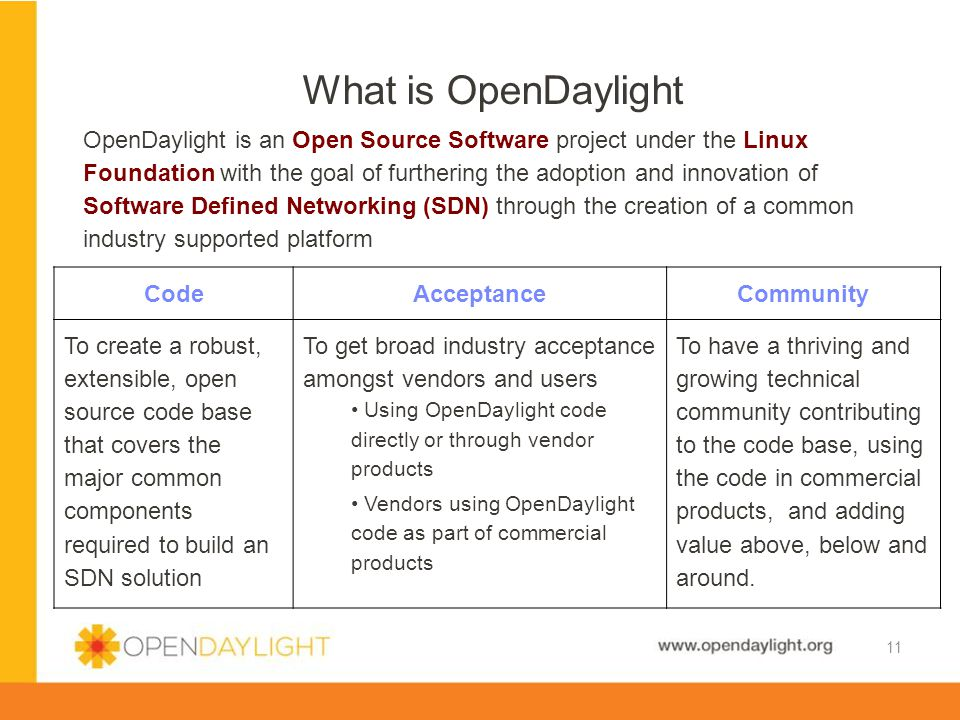 www.opendaylight.org OpenDaylight is an Open Source Software project under the Linux Foundation with the goal of furthering the adoption and innovatio