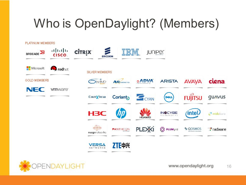 www.opendaylight.org Who is OpenDaylight? (Members) 16
