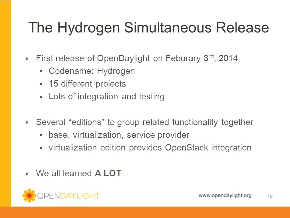 www.opendaylight.org  First release of OpenDaylight on Feburary 3 rd, 2014  Codename: Hydrogen  15 different projects  Lots of integration and tes