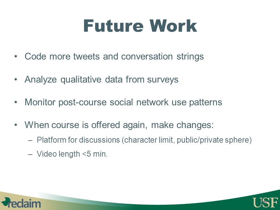 Future Work Code more tweets and conversation strings Analyze qualitative data from surveys Monitor post-course social network use patterns When cours