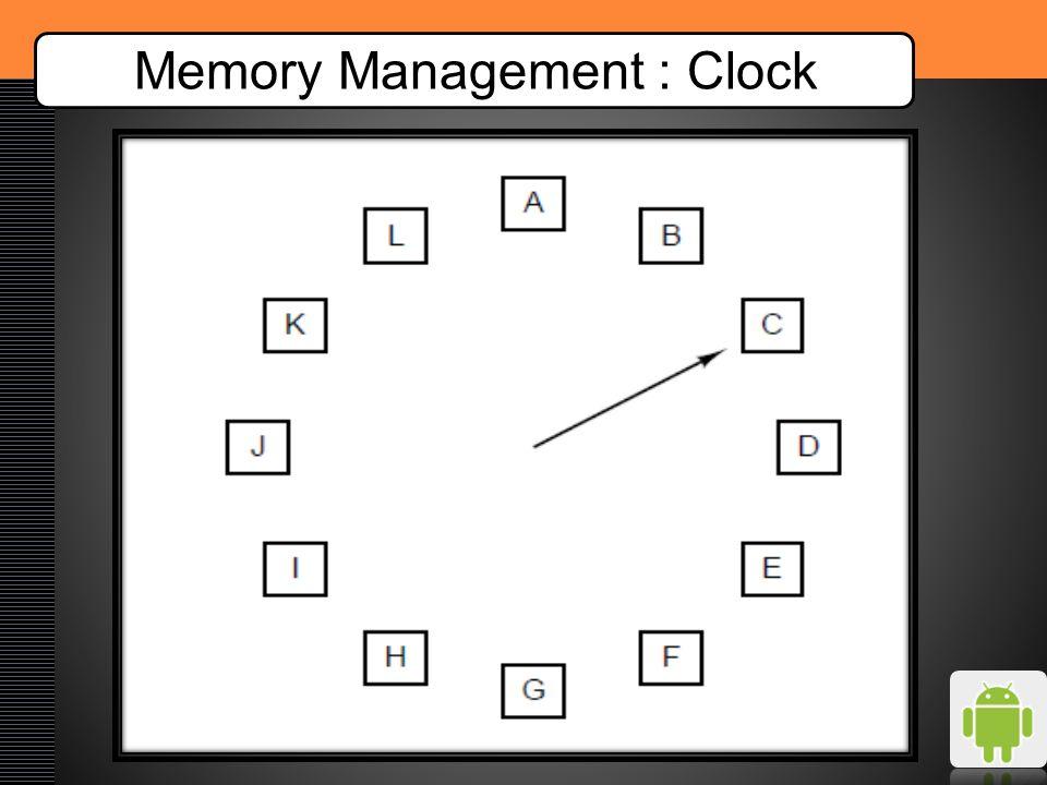 Memory Management : Clock Time012345678910 RequestsCADBEBABCD 0AAAAAEEEEED 1BBBBBBBBBBB 2CCCCCCCAAAA 3DDDDDDDDDCC Page faults00000112234 1A1E1E1E1E1E1