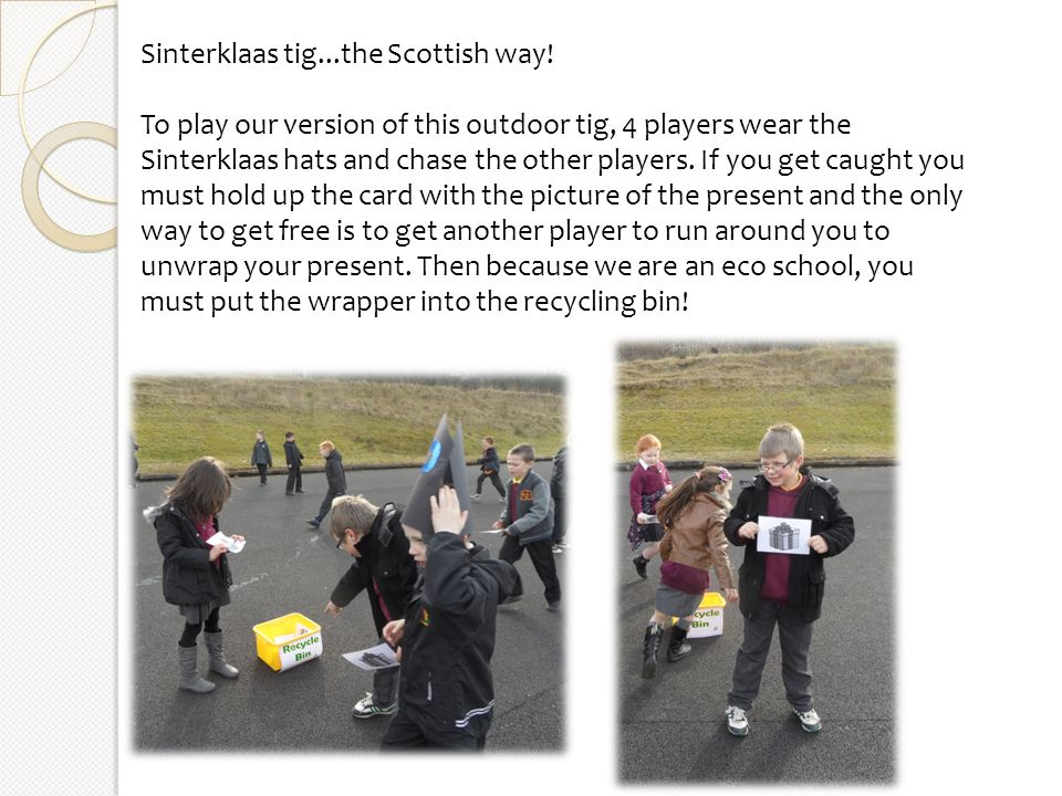 We played our new outdoor Sinterklaas games outside as the winter sun shone in Glasgow!