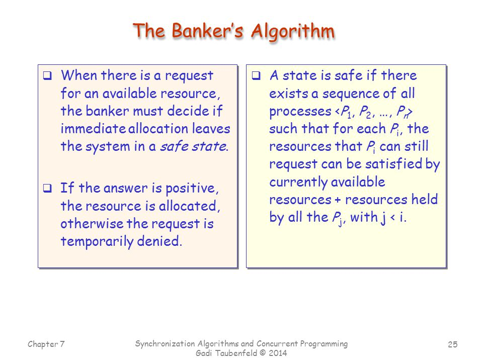 25 Chapter 7 Synchronization Algorithms and Concurrent Programming Gadi Taubenfeld © 2014 The Banker's Algorithm  When there is a request for an available resource, the banker must decide if immediate allocation leaves the system in a safe state.