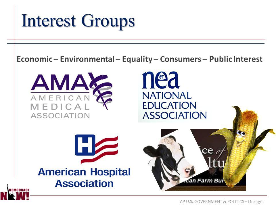 AP U.S. GOVERNMENT & POLITICS – Linkages Interest Groups Economic – Environmental – Equality – Consumers – Public Interest