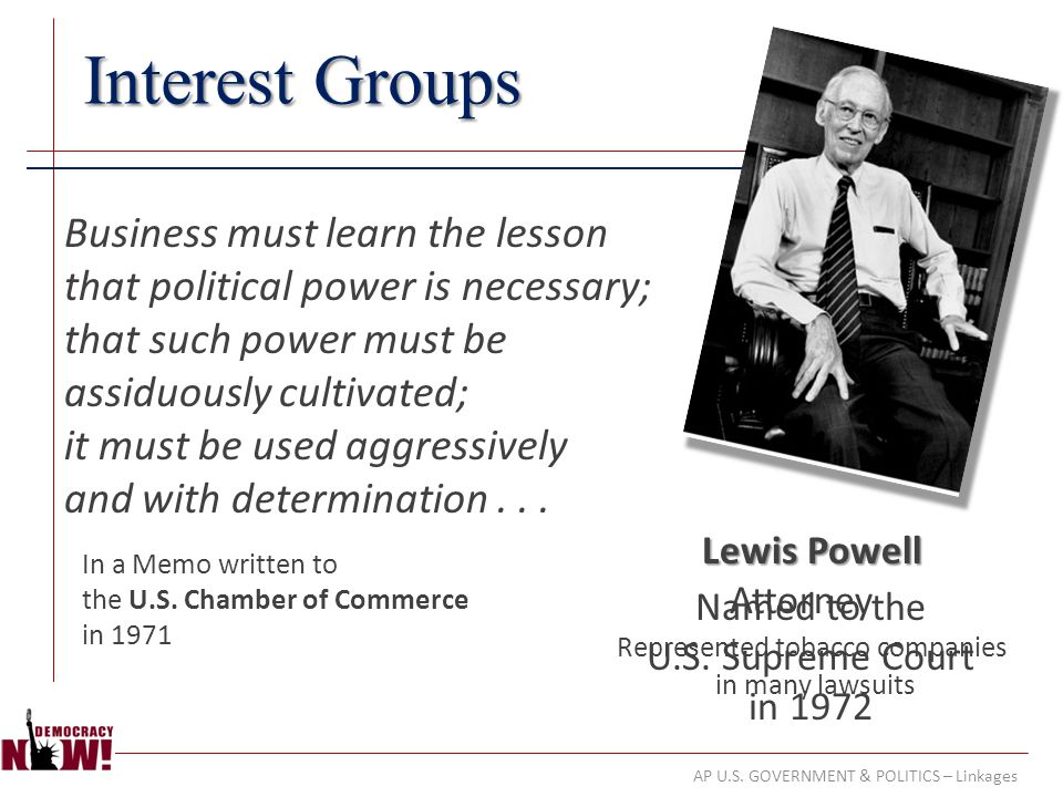 AP U.S. GOVERNMENT & POLITICS – Linkages Interest Groups Business must learn the lesson that political power is necessary; that such power must be ass