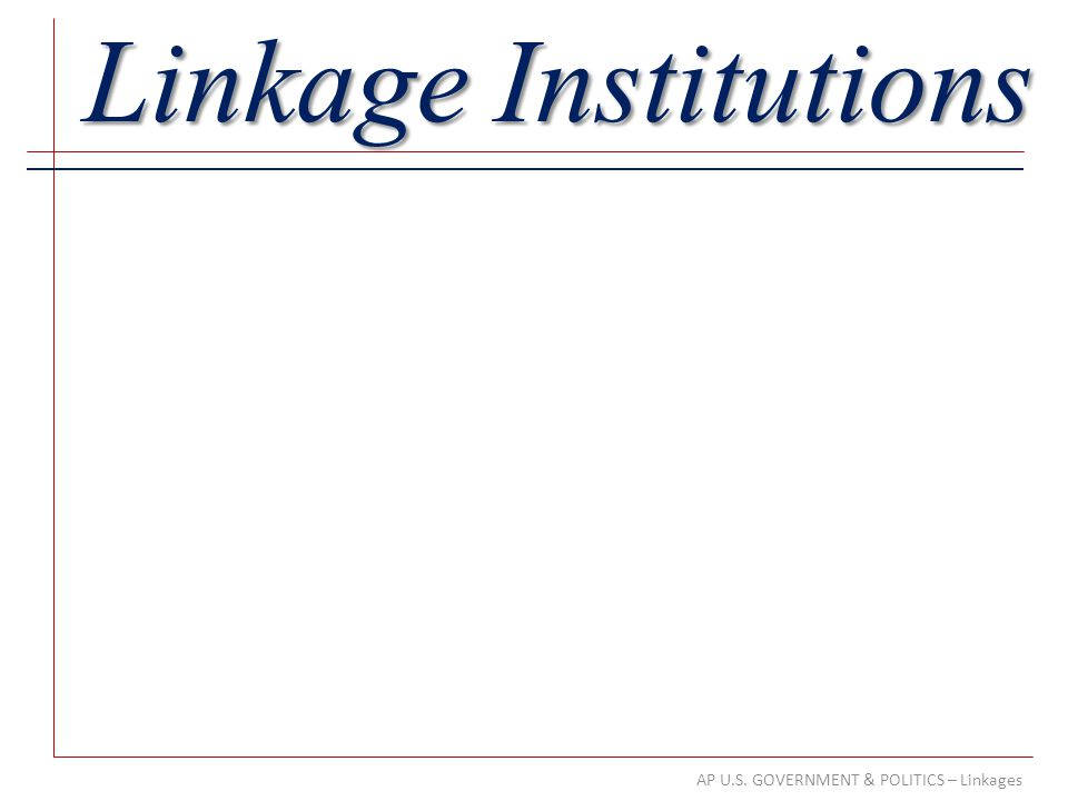 AP U.S. GOVERNMENT & POLITICS – Linkages Linkage Institutions