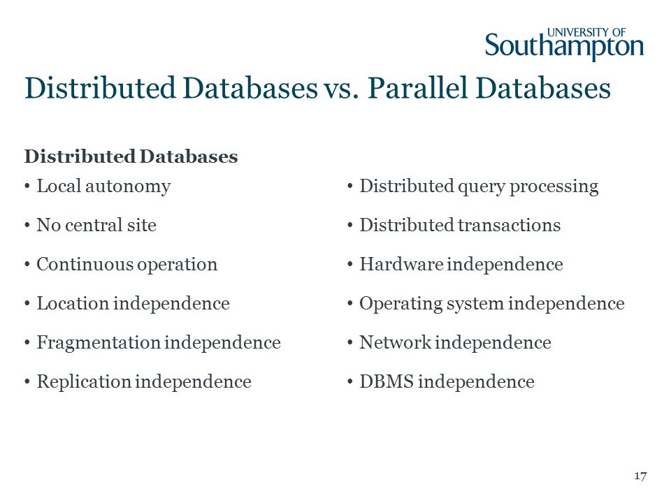 Distributed Databases Local autonomy No central site Continuous operation Location independence Fragmentation independence Replication independence Distributed query processing Distributed transactions Hardware independence Operating system independence Network independence DBMS independence Distributed Databases vs.